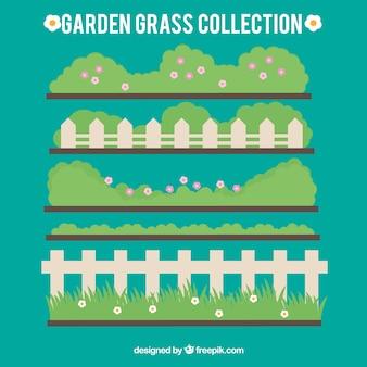 울타리와 함께 귀여운 정원 잔디