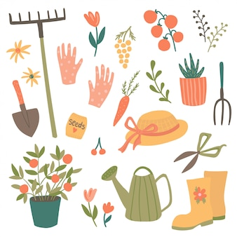 Cute garden item set, illustration of gardening tools and elements: spade, pitchfork, plants, watering can, plants, garden gloves, hat, boots.