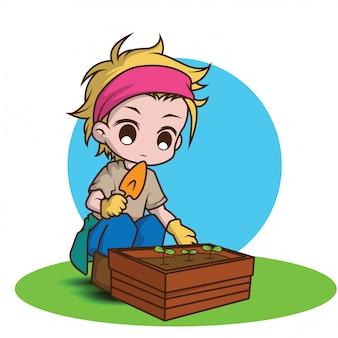Cute gardener character