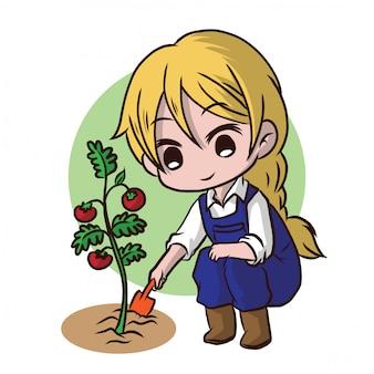 Cute gardener character.