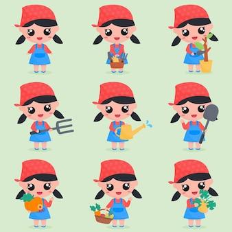 세트 번들에 정원 요소가 있는 귀여운 정원사 소녀 캐릭터