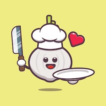 Cute garlic chef cartoon illustration vegetable cartoon vector illustration