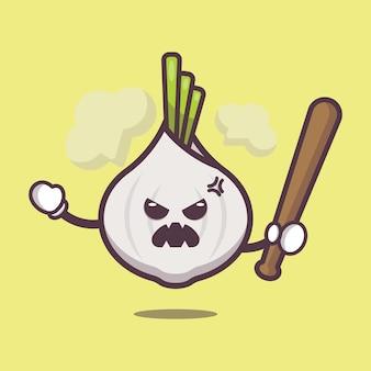 Cute garlic is angry cartoon illustration vegetable cartoon vector illustration