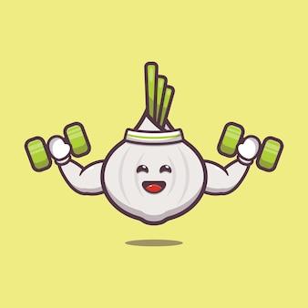 Cute garlic lifting dumbbell cartoon illustration vegetable cartoon vector illustration