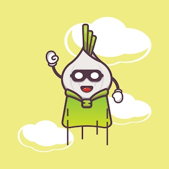 Cute garlic super hero flying cartoon illustration vegetable cartoon vector illustration