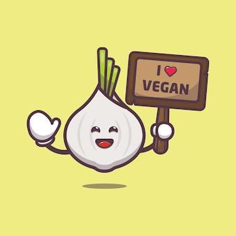 Cute garlic with greeting love vegetable cartoon illustration world vegetarian day illustration