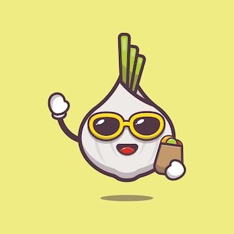 Cute garlic with shopping bag cartoon illustration vegetable cartoon vector illustration