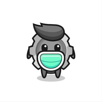 Cute gear cartoon wearing a mask , cute style design for t shirt, sticker, logo element