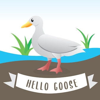 Cute geese, cartoon flat style farm animal. illustration of white domestic goose, funny cartoon goose
