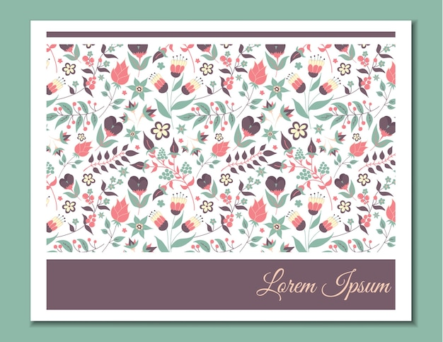 Cute gentle card with floral pattern. doodle flowers and leaves.