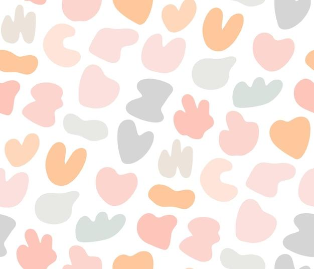 Милый нежный детский бесшовный образец с красочными пастельными пятнами. сладкий нежный фон, текстильный принт для детей с абстрактными случайными каплями.