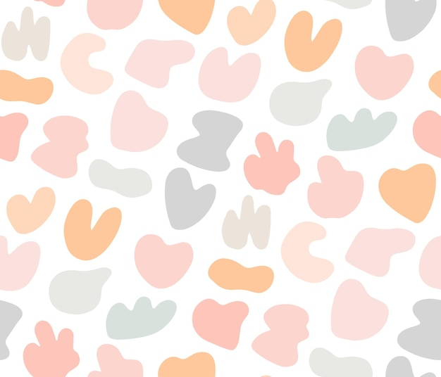 Cute gentle childish seamless pattern with colorful pastel spot stans. sweet delicate background, textile print for kids with abstract random blobs.