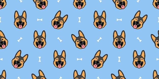 귀여운 독일 셰퍼드 강아지 만화 원활한 패턴, 벡터 일러스트 레이 션