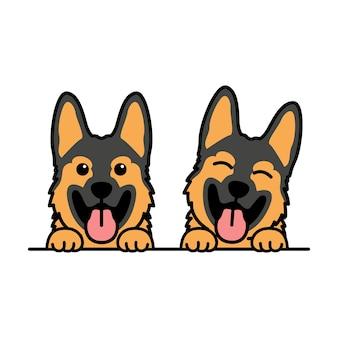 Cute german shepherd puppy cartoon, vector illustration