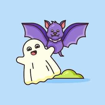 Милый призрак и летучая мышь иллюстрации.