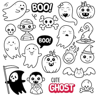 Cute ghost black and white doodle illustration