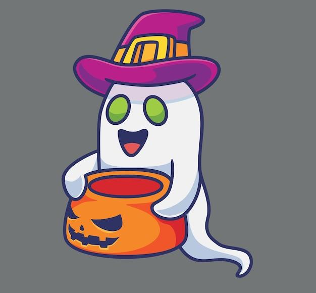 귀여운 유령은 그릇 호박을 가져와 격리 된 만화 동물 기술 그림 플랫 스타일
