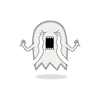 かわいい幽霊漫画のキャラクターが泣いている