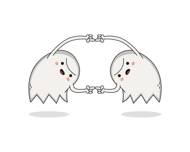 かわいい幽霊漫画のキャラクターが団結