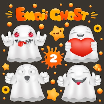 Cute ghost cartoon emoji character in various emotions collection