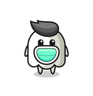 マスクを身に着けているかわいい幽霊漫画、tシャツ、ステッカー、ロゴ要素のかわいいスタイルのデザイン