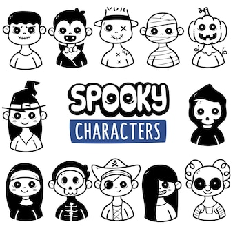 Cute ghost character black and white doodle illustration