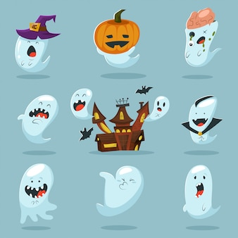 Cute ghost character in costume.