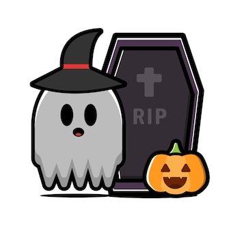 Cute ghost character. halloween concept