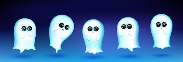 파란색 배경에 다른 감정을 가진 귀여운 유령 캐릭터. 만화 마스코트, 흰색 팬텀 미소, 인사, 슬픔과 놀의 벡터 집합입니다. 창의적인 이모티콘 세트, 재미있는 정신 챗봇