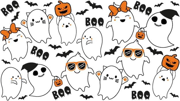 Коллекция милых призраков с тыквой и летучей мышью на хэллоуин Premium векторы