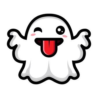 혀를 내미는 귀여운 유령 디자인