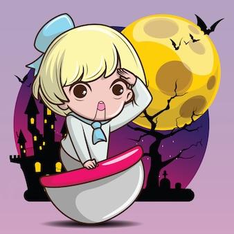 Cute ghost doll cartoon., halloween concept.