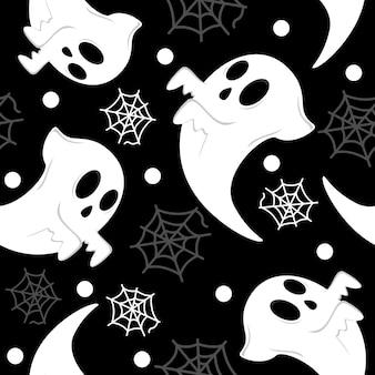 Cute ghost flat design pattern illustration