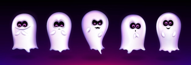 Cute ghost, funny halloween creature express different emotions, spooky spirit emoji smiling, yelling say boo. fantasy monster mascot with lovely kawaii face, realistic 3d vector illustration, set