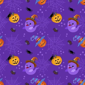 Cute ghost and halloween pumpkin with spider web background.