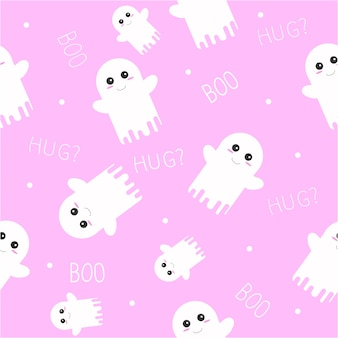 Cute ghost halloween seamless pattern