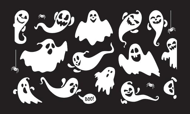 かわいい幽霊の休日の文字フラットスタイルデザインベクトルイラストセット孤立した黒い背景