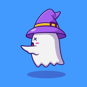 Cute ghost illustration design is scaring premium isolated animal design concept
