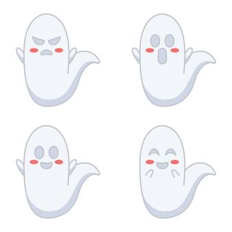 평면 디자인의 귀여운 유령 그림