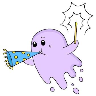 かわいい幽霊が花火を灯して新年を祝っています、キャラクターかわいい落書きドロー。ベクトルイラスト