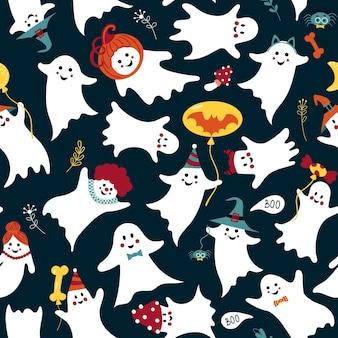 Симпатичный образец призрака. бесшовные для хэллоуина с забавным жутким. очаровательный дух в шляпах.