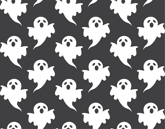 Cute ghost pattern seamless and wallpaper design for halloween day