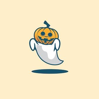 Cute ghost pumpkin head mascot cartoon
