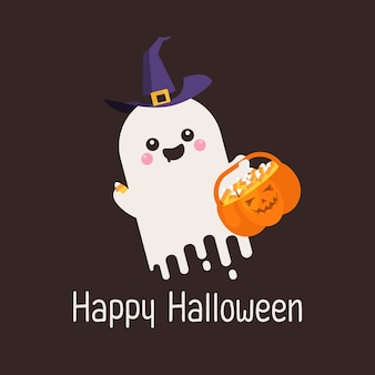 Cute ghost and pumpkin with candies
