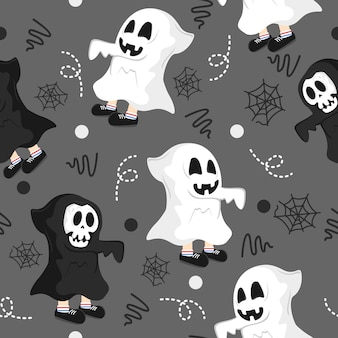 Cute ghost with line art pattern illustration