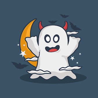 Cute ghost with moon