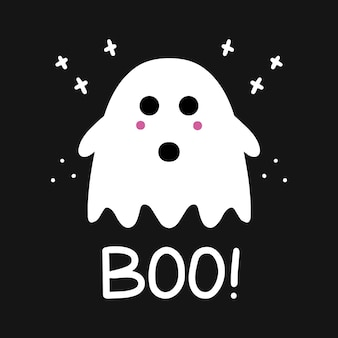 Cute ghost with pink blush and boo lettering. simple doodle art. halloween greeting card.