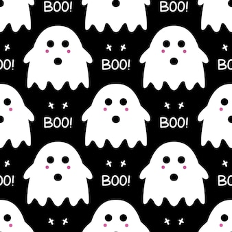 Cute ghost with pink blush, cross and boo lettering as seamless pattern on black background.