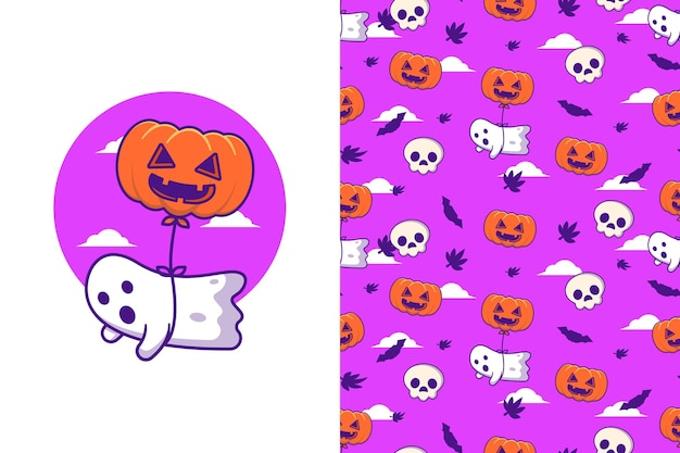 Cute ghost with pumpkin balloon happy halloween with seamless pattern