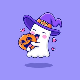 Милый призрак с тыквой мультяшный